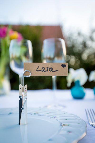 Tischkartenhalter, Tischkarte, Gastgeschenk, Klammer, Weddings, Brautpaar von Herr Fuchs & Frau Hase auf DaWanda.com