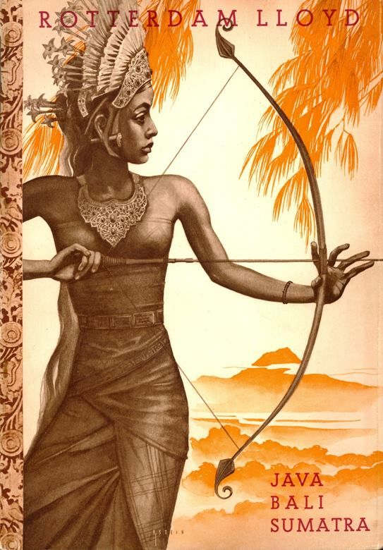 Vintage Travel Poster for the Cruise Company Rotterdam Lloyd. Circa 1935. To Java, Bali and Sumatra, Netherlands Indies (Indonesia now).