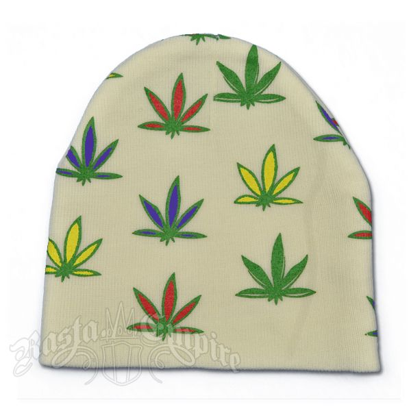 This white beanie knit cap has multi color weed leaves stamped all over. 100% Acrylic.