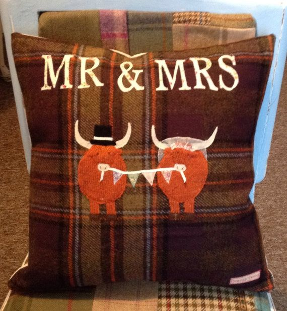 Highland Cow Tweed Wedding  Cushion