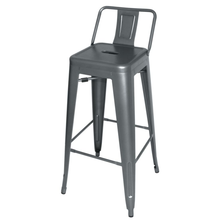 steel bistro high stool with back rest pack of 4 4 pack - Metal Bar Stools With Backs