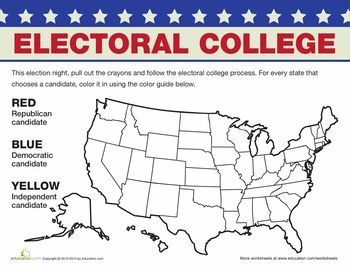 Worksheets: Electoral College Map, what a fun way to get kids involved. I just printed up about 10 more worksheets that will help Carly understand the election process & our government.   Education.com has sooooo many great free worksheets for kids! I use this daily & love it!!                                                                                                                                                                                 More