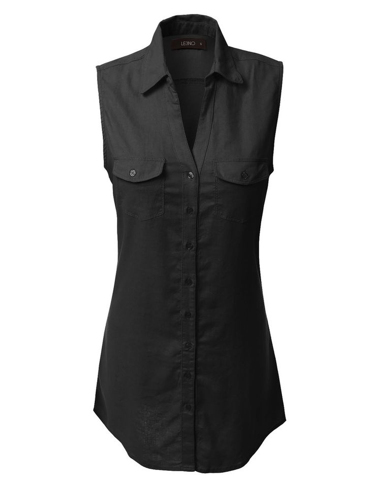 LE3NO Womens Lightweight Sleeveless Button Down Tunic Shirt Dress with Pockets