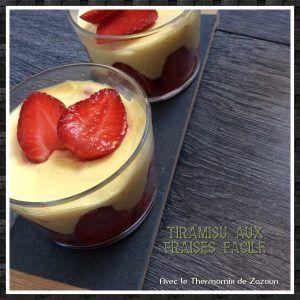 Verrines tiramisu aux fraises thermomix ou autres robots, facile