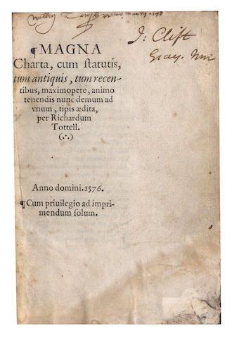 MAGNA CARTA Magna Charta, cum statutis, Richard Tottell, [the 8 day of Marche], 1576