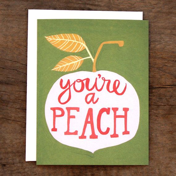 Youre A Peach, illustration, greeting card, fruit, printmaking, lino, stencil, lettering, type, colour, print, typography