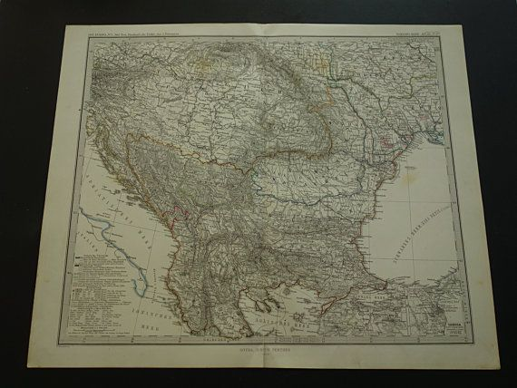 Antique map of the Balkans Turkey Russia by DecorativePrints