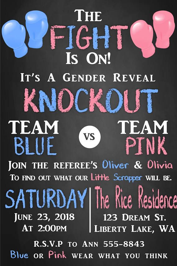 The Fight Is On Boxing Gender Reveal Invitation Gender Reveal Invitations Gender Reveal Gender Reveal Themes