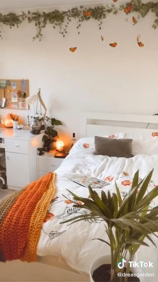 1 bedroom in fairways north , the greens (watch video here) living stylish on a budget. room decor Yellow plants - cottagecore room | Room