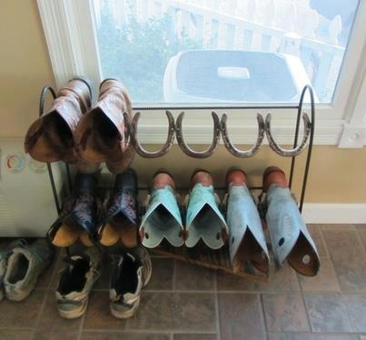 http://www.kitchendecorationidea.com/category/Shoe-Tack/ Horse shoe boot rack, yet. Tamara better have a LOT of horseshoes!