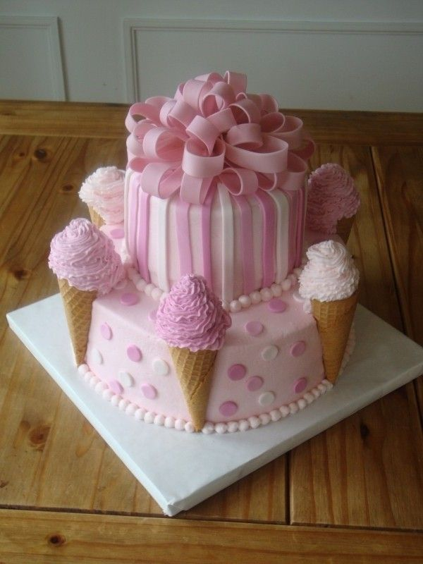 Ice cream cone cakeIdeas, Birthday Parties, Ice Cream Cake, Parties Cake, Girls Cake, Birthday Cake, Icecream, Ice Cream Cones, Pink Cake