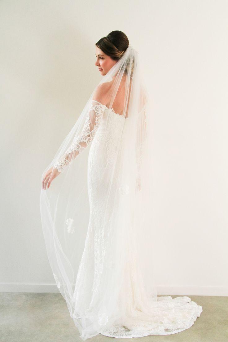 Soft flower embellished veil www.whenfreddiemetlilly.com.au