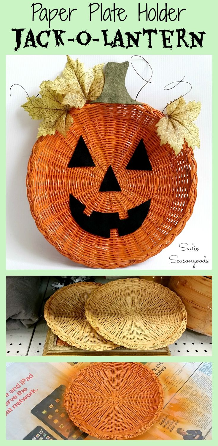 You know those old wicker paper plate holders that everyone's Mom had in the '70s and '80s? Well, time to upcycle them into pumpkin or jack-o-lantern door decorations / wreathes for Halloween and Fall! They are the perfect canvas for a repurpose...and super cheap at all the thrift stores. #SadieSeasongoods