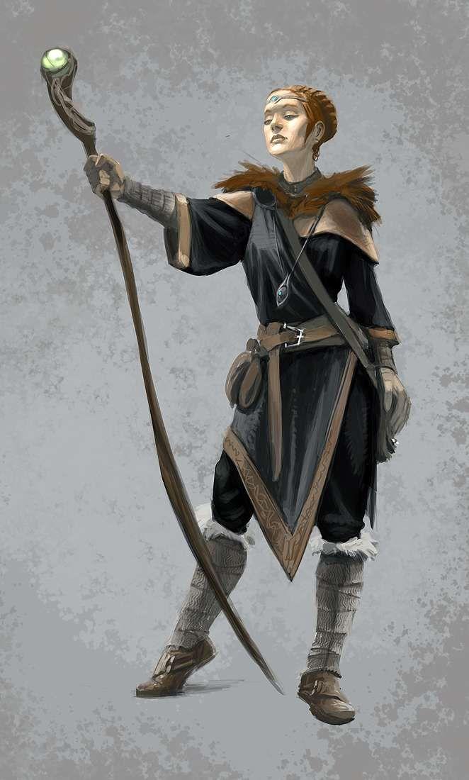 Concept art of Female Mage Robes from The Elder Scrolls V: Skyrim by Ray Lederer
