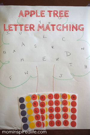 This fun apple themed alphabet activity works on literacy skills and fine motor skills with a simple letter matching activity and the use of stickers. It's a great learning activity for an apple themed preschool week!