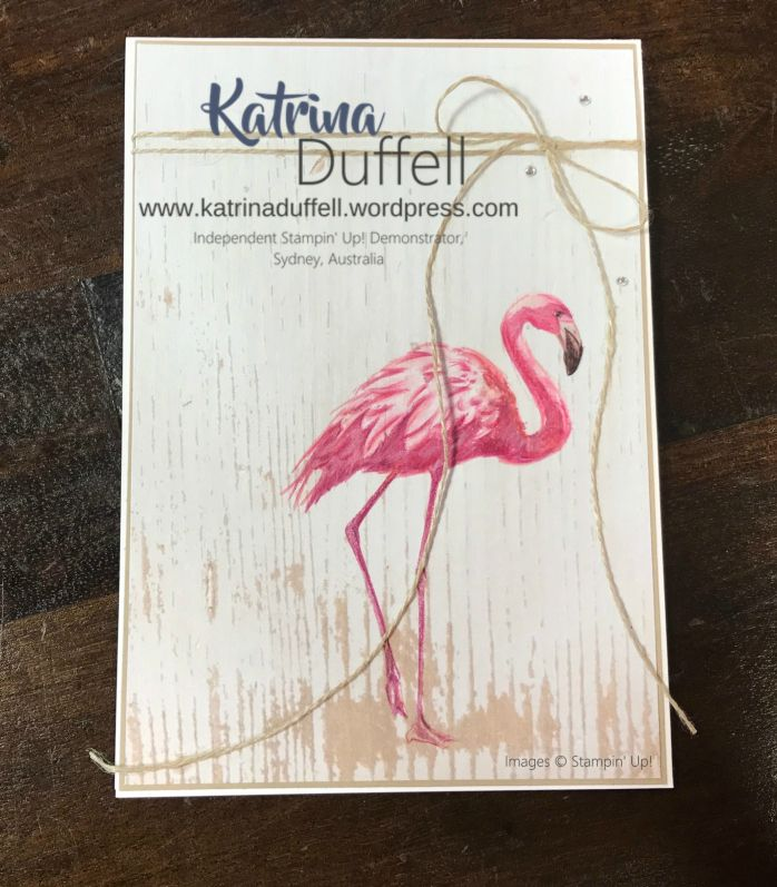 2017-2018 Stampin' Up! Annual Catalogue New Ideas, Fabulous Flamingo stamp set, Wood Textures DSP, Katrina Duffell, Colouring In, Watercolour Pencils