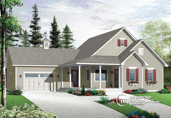 COUNTRY BUNGALOW WITH OPEN FLOOR PLAN Traditional style, computer nook, access to basement through garage, 2 foyers http://www.drummondhouseplans.com/house-plan-detail/info/reverse/galerno-3-country-1003007.html