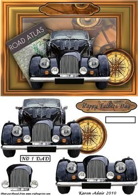 Vintage Car 3D Step by Step on Craftsuprint designed by Karen Adair - This is an A5 sized card front, with a great vintage car coming at you out of the frame. Decoupage pieces layer up to enhance that 3D effect. A greetings banner is included, for Fathers Day, or you could add a peel off to the blank already on the card front to use this for Birthdays, Retirment, or any occasion you want. Again with the number plate, this could be used for the Fathers Day card, or for any occasion for a Dad…