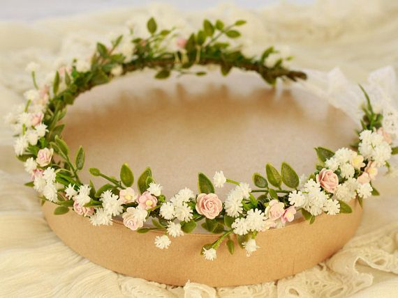 Pastel Flower Crown Floral Headband Flower Crown Bohemian Headpiece Boho Hippie Floral Rustic Headband Bridal Crown Baby Breath Gypsophila