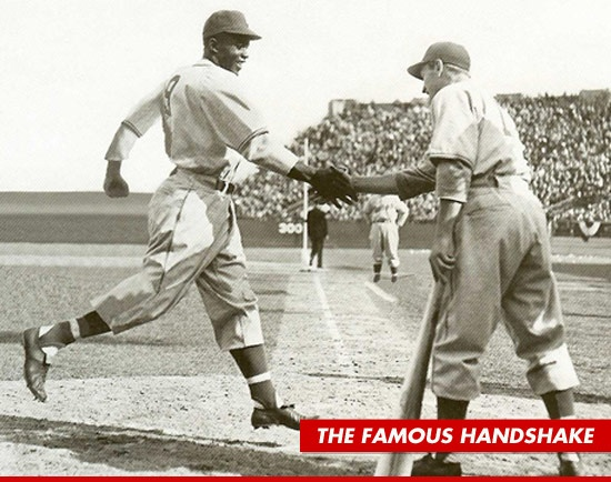 What an historic moment in history. #42 Jackie Robinson shaking hands with George Shuba. Awesome.  I hope to see the movie.