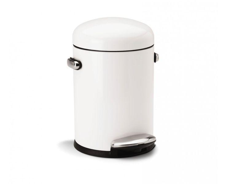 simplehuman | 4.5 litre, retro pedal bin, white steel
