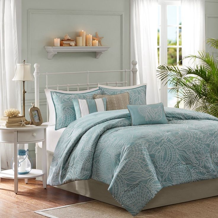 Soft Blue, Seashells, Starfish, Beach House, Island, CAL King Comforter Set
