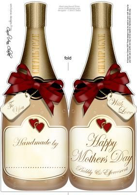 Large DL Mothers Day Champagne Bottle Shaped Card on Craftsuprint designed by Carol Clarke - A Large DL Celebratory Champagne Bottle shaped card with a mothers day Greeting, tags, bows and hearts. Just right for that extra special person in your life! A quick and easy card. Just cut and fold the shaped card in half, sign the handmade by plate on the back and your gorgeous card is ready to send!!This design is also available in other coordinating colourways/designs and together they would ...