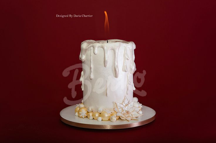 Images Of Cake With Candles : Berko Paris Christmas Cake white candle Sculpted Cakes ...