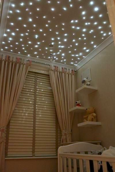 Fiber optic star lights #baby #nursery ceiling. A lovely way to fall asleep.