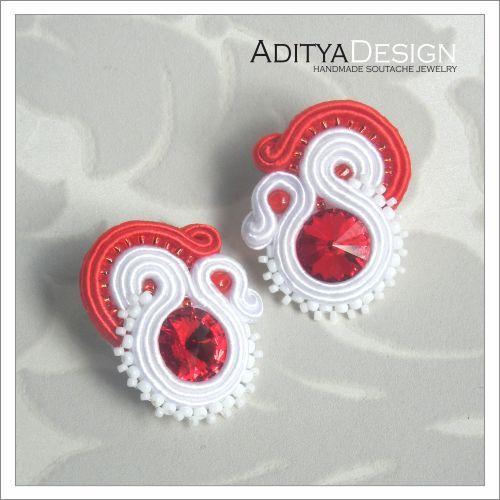 Soutache Earrings, Soutache Jewelry, Bridal Jewelry, Wedding Soutache, White Red, Agness  Model by AdityaDesignAgness