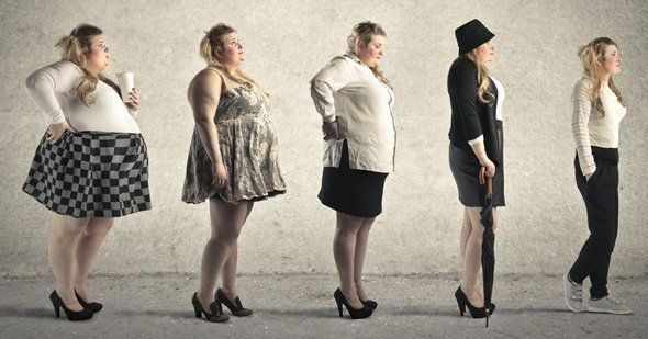 Obese Woman Transforming to Skinny
