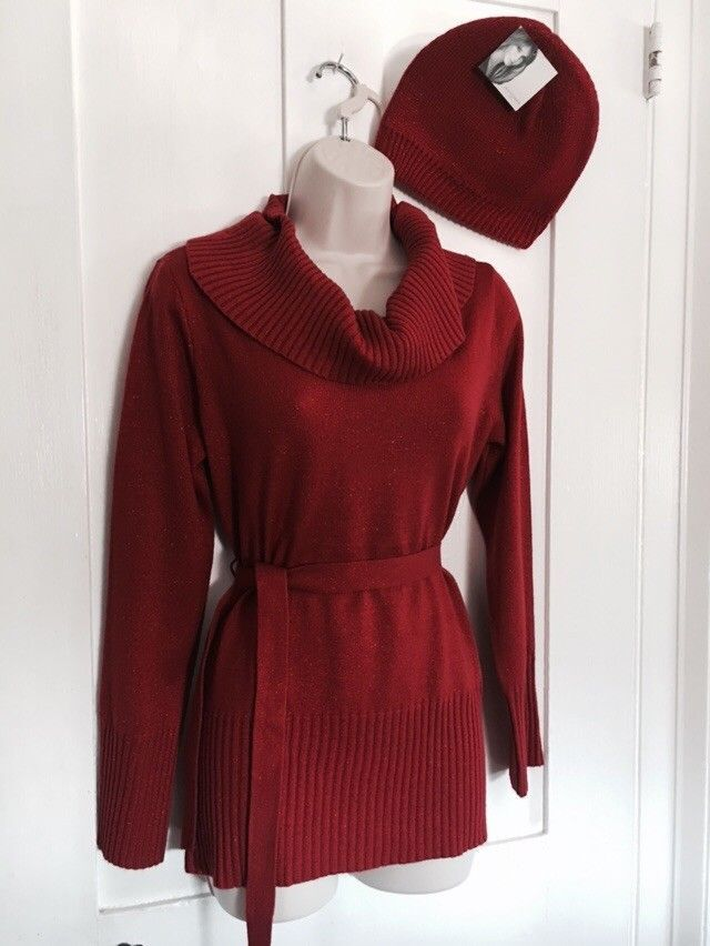 Jaqueline Smith Metallic Knit Red Sweater And Hat Size Small  | eBay