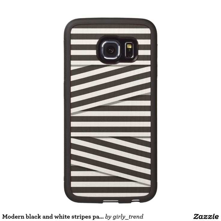 Modern black and white stripes pattern monochrome wood phone case