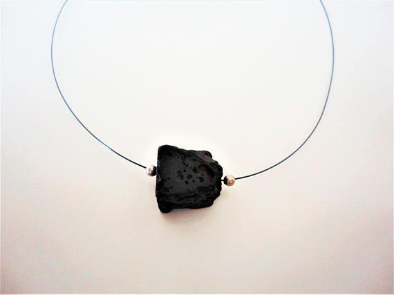 Minimal Black Lava Necklace. Lava Choker. 925 Silver Necklace.