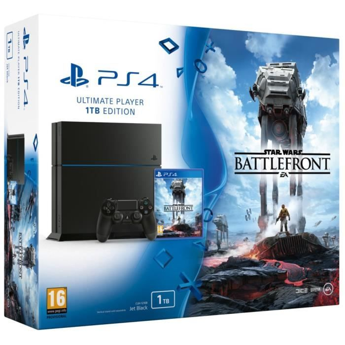 PS4 1 To + Star Wars Battlefront pas cher prix promo Consoles Cdiscount 339.90 €
