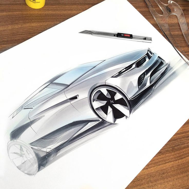 car design rendering with markers by Orhan Okay ® 2015