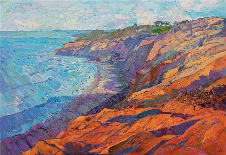 Torrey Pines coastal original painting by contemporary impressionist Erin Hanson.