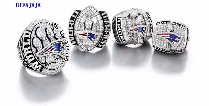 4pcs /set 2015 2001 2003  2004 champion Ring New England Patriots Super Bowl championship rings Statement Men Jewelry