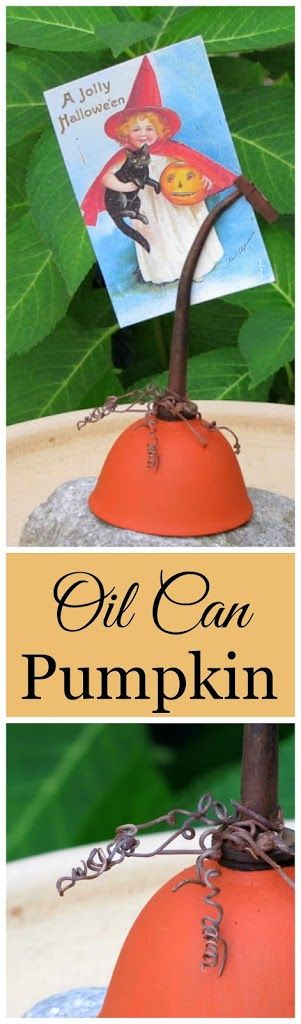Fun pumpkin photo holder repurposed from an old oil can - great quick and easy fall DIY project!