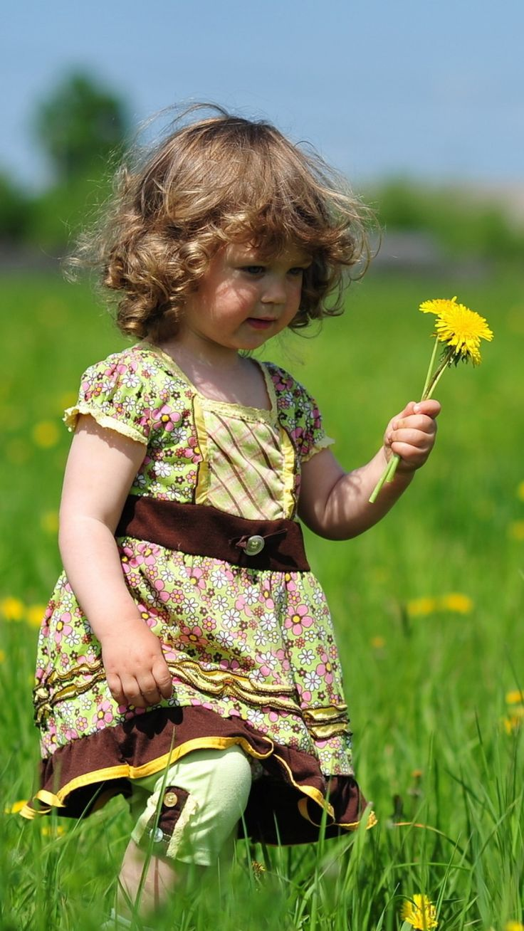 Little girl picking dandelion's in a field of grass