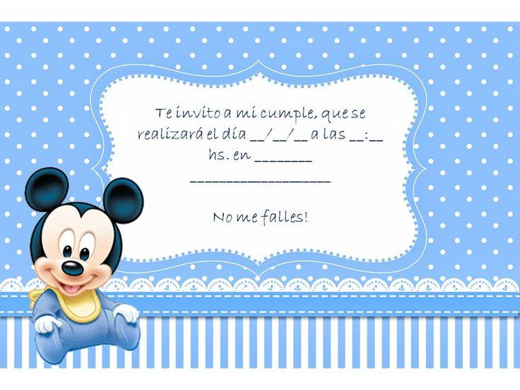 tarjeta mi bautismo y primer añito mickey mouse - Buscar con Google