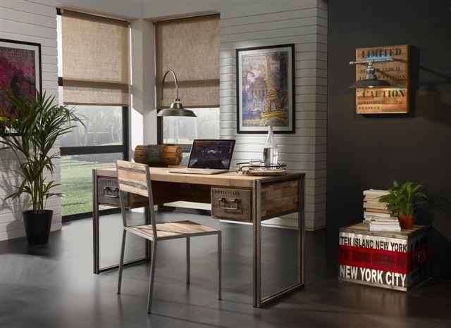 Escritorio de metal y madera tipo industrial este for Despacho estilo industrial