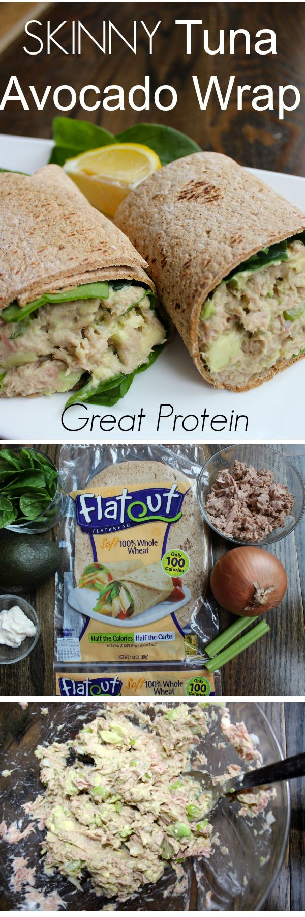 Skinny Tuna Avocado Wrap will satisfy with the protein and delicious taste. Super simple ingredients! ad