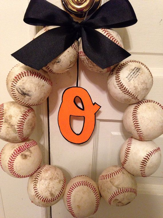 Baltimore Orioles Baseball Wreath by NTgoodthings on Etsy, $48.00
