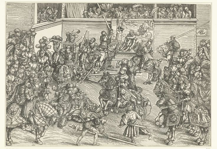 Toernooi van het keurvorstelijk hof van Saksen met wandtapijt Simson doodt de leeuw, Lucas Cranach (I), 1509