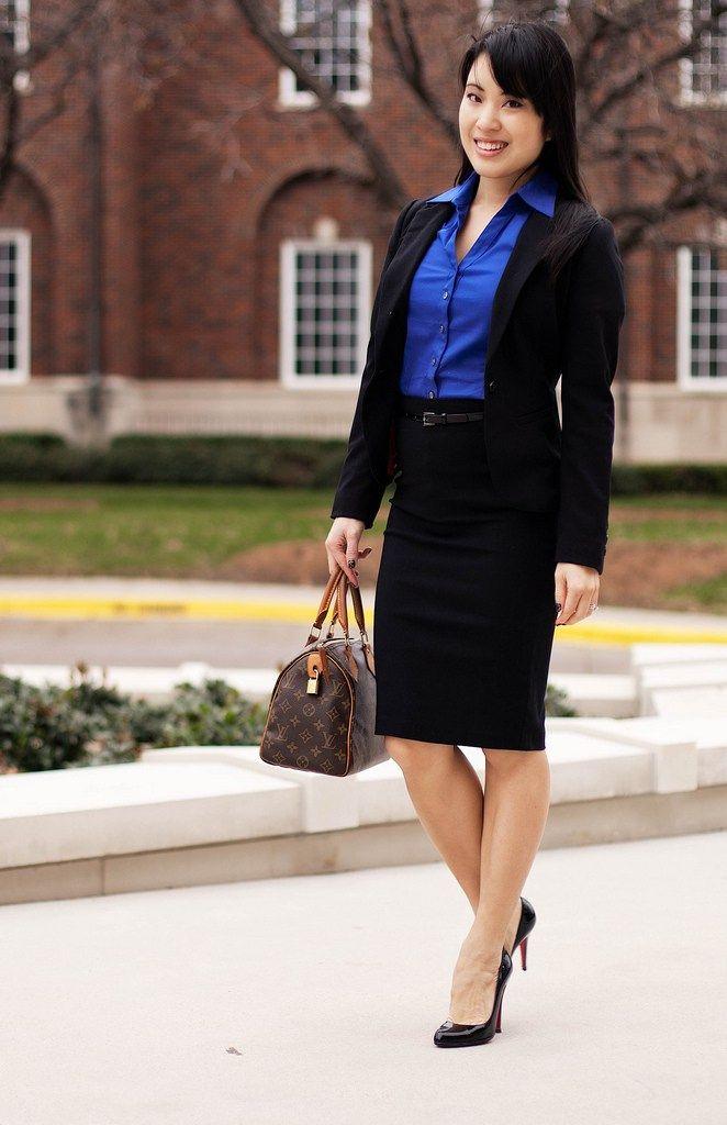 Black Skirt + Blue Shirt + Blazer   Interview outfit ...