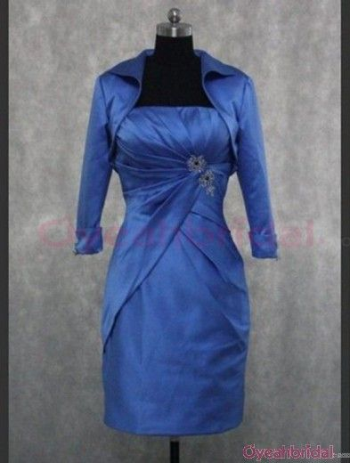 Elegant Modest A-line Strapless Ruched Beaded Knee-length Mother of the Bride/Evening/Cocktail Dress with Jacket