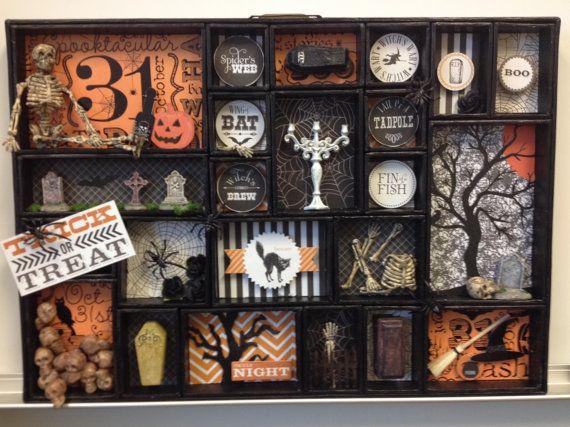 halloween printer tray shadow box tim holtz configurations halloween decor skulls skeletons coffins - Halloween Diorama Ideas