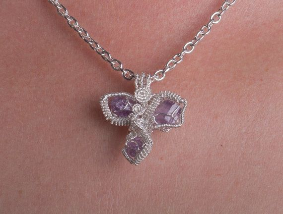 Fairy Tale Lavender Purple Scapolite Pendant - Scapolite Crystal Pieces Wire Wrapped in Sterling Silver