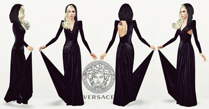 Versace Midnight Custom Gown by ARTSIMS - Sims 3 Downloads ...
